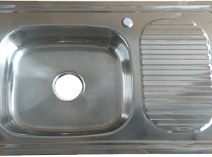 EVIER INOX SIMPLE BAC AVEC SIPHON COMPLET