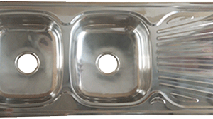 EVIER INOX DOUBLE BAC AVEC SIPHON COMPLET